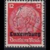 Luxemburg 7 Hindenburg mit waagerechtem Aufdruck 12 Pf gestempelt /3