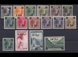 Luxemburg 17-32 mit Aufdruck des neuen Wertes in Rpf 16 Werte postfrisch