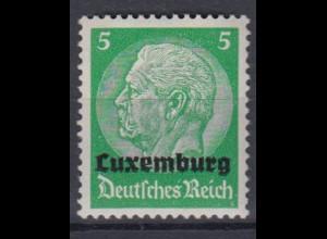 Luxemburg 3 Hindenburg mit waagerechtem Aufdruck 5 Pf postfrisch