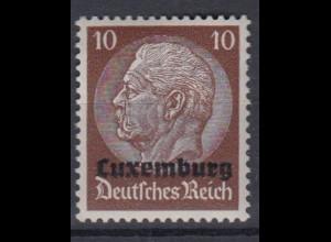 Luxemburg 6 Hindenburg mit waagerechtem Aufdruck 10 Pf postfrisch