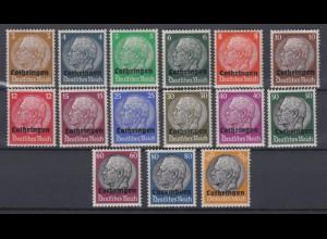 Lothringen 1-15 Hindenburg mit waagerechtem Aufdruck kompletter Satz 16 Werte **