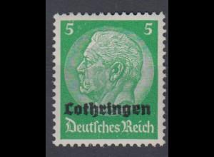 Lothringen 3 Hindenburg mit waagerechtem Aufdruck 5 Pf postfrisch