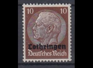Lothringen 6 Hindenburg mit waagerechtem Aufdruck 10 Pf postfrisch