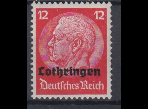 Lothringen 7 Hindenburg mit waagerechtem Aufdruck 12 Pf postfrisch