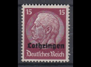 Lothringen 8 Hindenburg mit waagerechtem Aufdruck 15 Pf postfrisch