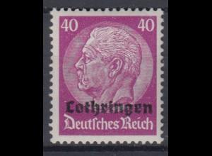 Lothringen 12 Hindenburg mit waagerechtem Aufdruck 40 Pf postfrisch