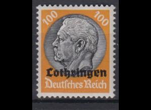 Lothringen 16 Hindenburg mit waagerechtem Aufdruck 100 Pf postfrisch
