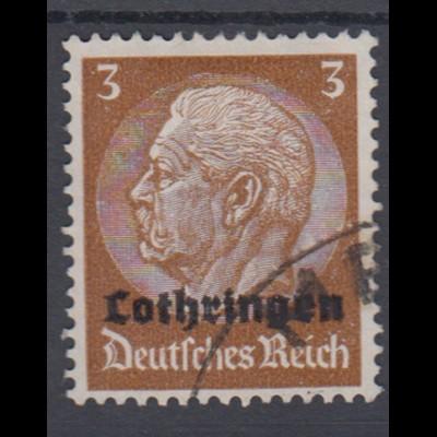 Lothringen 1 Hindenburg mit waagerechtem Aufdruck 3 Pf gestempelt /1