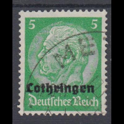 Lothringen 3 Hindenburg mit waagerechtem Aufdruck 5 Pf gestempelt /1