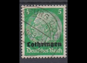Lothringen 3 Hindenburg mit waagerechtem Aufdruck 5 Pf gestempelt /2
