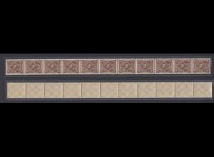 Dt. Reich 231a 11er Streifen Posthorn 30 Mark einfarbig ungefaltet postfrisch