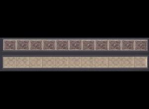Dt. Reich 231b 11er Streifen Posthorn 30 Mark einfarbig ungefaltet postfrisch