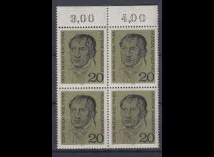 Bund 617 mit Oberrand 4er Block 200.Geburtstag Georg W. Hegel 20 Pf postfrisch