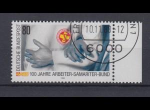 Bund 1394 I mit Plattenfehler 100 Jahre Arbeiter Samatiter Bund 80 Pf gestempelt