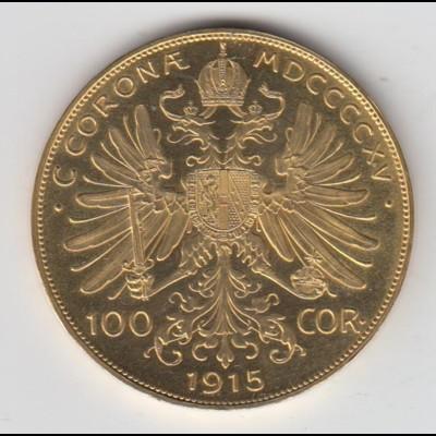 Goldmünze Österreich Franz Joseph I. 100 Kronen 1915