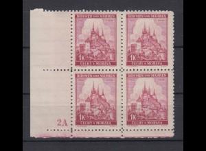 Böhmen + Mähren 28 4er Bl. mit Pl. Nr. 2 A Lindenzweig und Landschaften 1 K **
