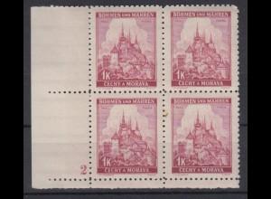 Böhmen + Mähren 28 4er Bl. mit Pl. Nr. 2 Lindenzweig und Landschaften 1 K **