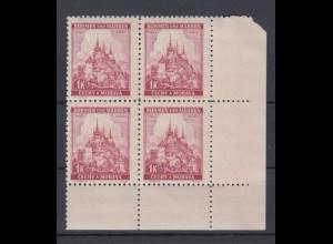 Böhmen + Mähren 28 4er Bl. Eck. rechts unten Lindenzweig und Landschaften 1 K **