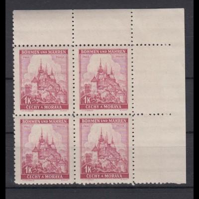 Böhmen + Mähren 28 4er Bl. Eckr. rechts oben Lindenzweig und Landschaften 1 K **