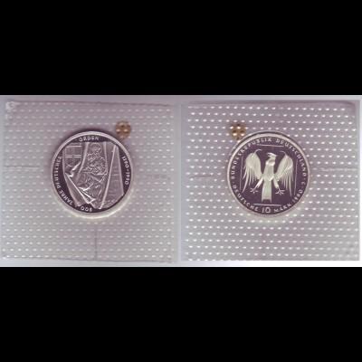 """Silbermünze 10 DM 1990 800 Jahre Deutscher Orden """"J"""" polierte Platte (9)"""