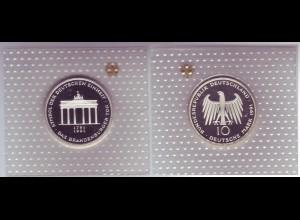 """Silbermünze 10 DM 1991 Brandenburger Tor """"A"""" polierte Platte (10)"""