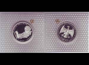"Silbermünze 10 DM 1992 Käthe Kollwitz ""G"" polierte Platte (11)"