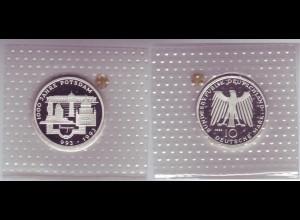 """Silbermünze 10 DM 1993 1000 Jahre Potsdam """"F"""" polierte Platte (13)"""