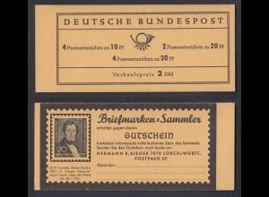 Bund Markenheftchen 12 a Brandenburger Tor postfrisch links geöffnet