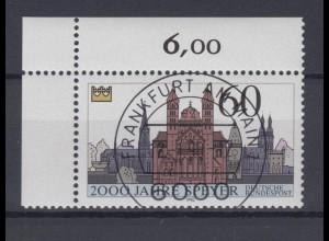 Bund 1444 Eckrand links oben 2000 Jahre Speyer 1990 60 Pf mit ESST Frankfurt