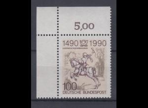 Bund 1445 Eckrand links oben 500 Jahre Postverbindung in Europa 100 Pf **