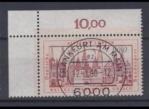 Bund 1447 Eckrand links oben UNESCO Welterbe (I) 100 Pf mit ESST Frankfurt