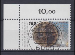 Bund 1452 Eckrand links oben 750 J. Messe Frankfurt a.M. 100 Pf ESST Frankfurt