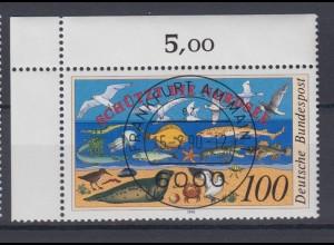 Bund 1454 Eckrand links oben Schützt die Nordsee 100 Pf mit ESST Frankfurt