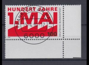 Bund 1459 Eckrand rechts unten 100 Jahre Tag der Arbeit 100 Pf ESST Frankfurt
