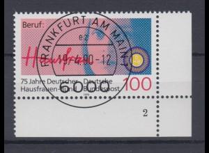 Bund 1460 Eckrand rechts unten mit FN 2 75 J. Dt. Hausfrauen Bund 100 Pf ESST