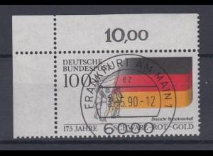 Bund 1463 Eckrand links oben 175 J. Nationalfarben Schwarz Rot Gold 100 Pf ESST