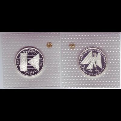 """Silbermünze 10 DM 1996 150 Jahre Kolpingwerk """"A"""" polierte Platte (20)"""