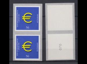 Bund 2236 SB RM zusammenhängend mit gerader + ohne Nr. Euro Zeichen 56 C **