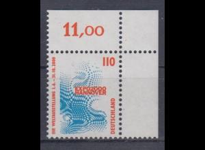 Bund 2009 Eckrand rechts oben SWK 110 Pf postfrisch