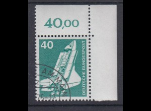 Bund 850 Eckrand re. ob. alte Fluoreszenz Industrie+Technik 40 Pf gestempelt