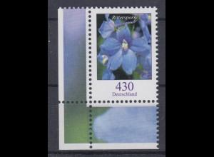 Bund 2435 Blumen (I) Feldrittersporn 4,30 € Eckrand links unten postfrisch