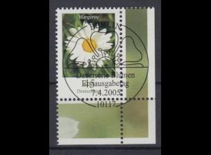 Bund 2451 Eckrand rechts unten Blumen Margerite 45 Cent mit ESST Berlin