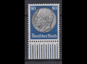 Deutsches Reich 494 Unterrand Paul von Hindenburg 80 Pf postfrisch