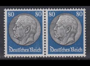 Deutsches Reich 494 waagerechtes Paar Paul von Hindenburg 80 Pf postfrisch