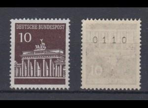Bund 506 v RM mit gerader Nummer Brandenburger Tor 10 Pf postfrisch