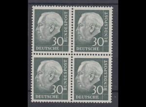 Bund 259y 4er Block Bundespräsident Theodor Heuss (II) 30 Pf ** fuoresz. Papier