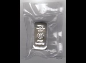 Silberbarren 100 Gramm gegossen Heimerle eingeschweist