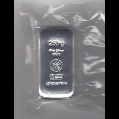 Silberbarren 250 Gramm gegossen Heimerle eingeschweist