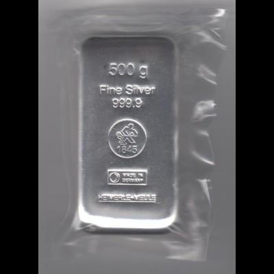 Silberbarren 500 Gramm gegossen Heimerle eingeschweist