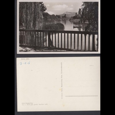 Ansichtskarte Jena Im Paradies Blick v.d. Schwanenbrücke auf Saale u. Jenzig